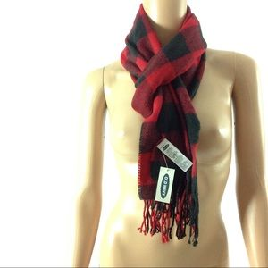 Old Navy Women Scarf One Size Red Plaid Fringed
